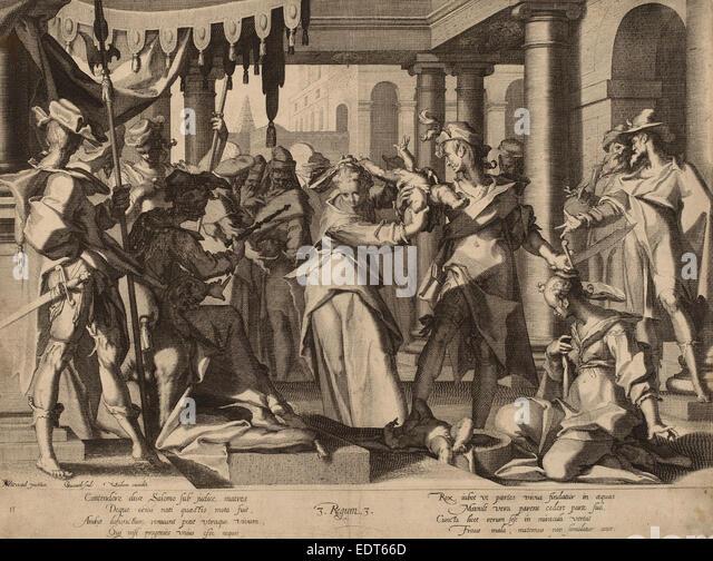 Willem Swanenburgh after Joachim Anthonisz Wtewael (Dutch, 1581-1582 - 1612), The Judgment of Solomon, c. 1600, - Stock Image