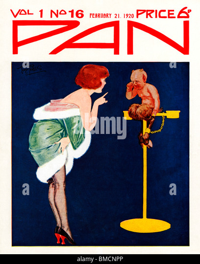 Pan, 21 February 1920, art deco cover of the English literary magazine, a tearful Pan is chained to his perch for - Stock Image