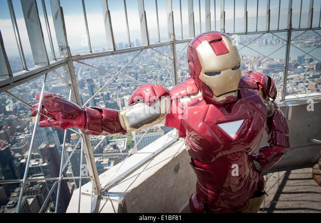 Manhattan, New York, USA. 29th May, 2014. Actor dressed as Iron Man character during PAL's Centennial event - Stock Image