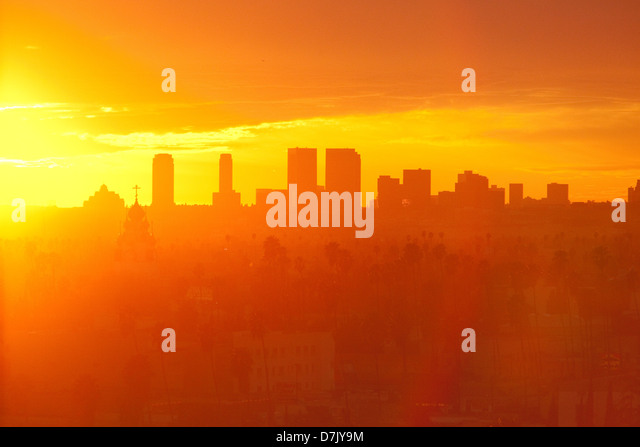 Los Angeles Hollywood skyline at sunset - Stock-Bilder
