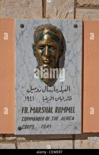 Egypt El Alamein World War 2 cemetery German Field Marshall Erwin Johannes Eugen Rommel also know as 'Desert - Stock Image
