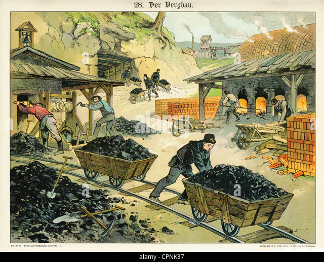 mining, coal mining, illustrated chart for children, images for the object-lesson, mine worker during the work, - Stock Image