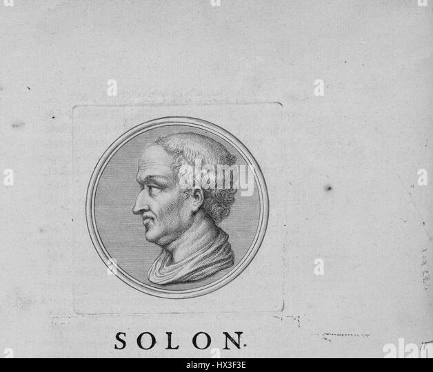 Portait of Solon, a prominent Greek statesman and poet, in profile, 1809. From the New York Public Library. - Stock Image