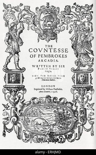 Philip Sidney 's 'Arcadia' - title page of Third Edition published in 1598.  English author and poet, - Stock Image