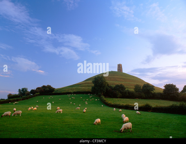 Looking up at Glastonbury Tor and St Michael's Tower from the NE, showing the terracing which some see as an - Stock Image