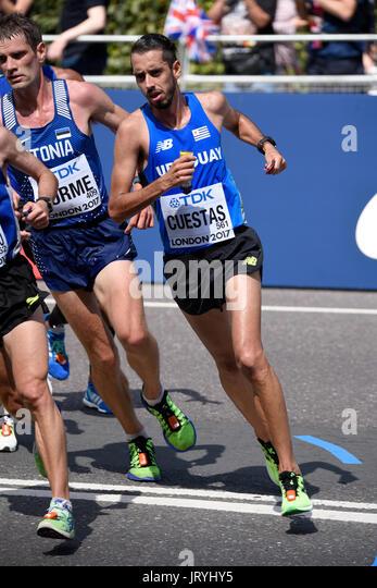 Nicolas Cuestas of Uruguay running in the IAAF World Championships 2017 Marathon race in London, UK. Space for copy - Stock Image