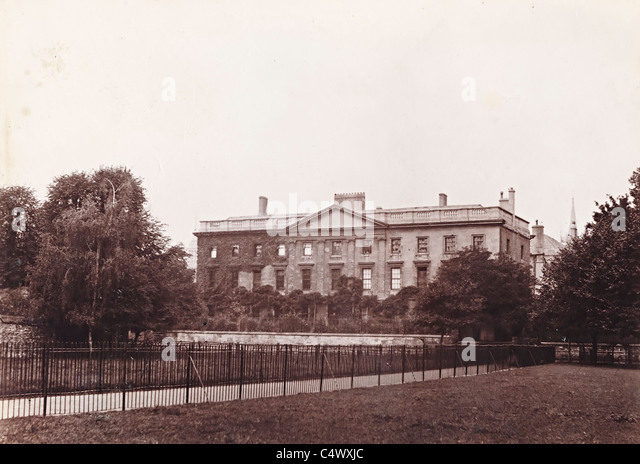 Corpus Christi College Oxford from the Meadows historic photo about 1890 England UK - Stock Image
