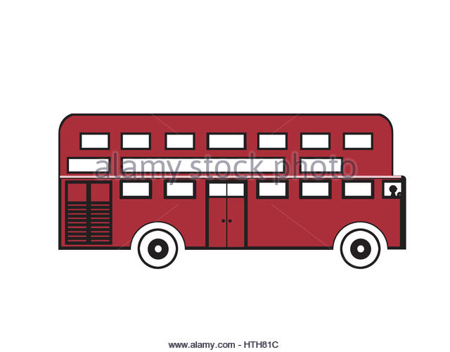 clip art of red bus - Stock Image
