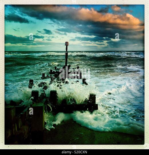 Stormy North Sea at Mundesley in north Norfolk. - Stock Image