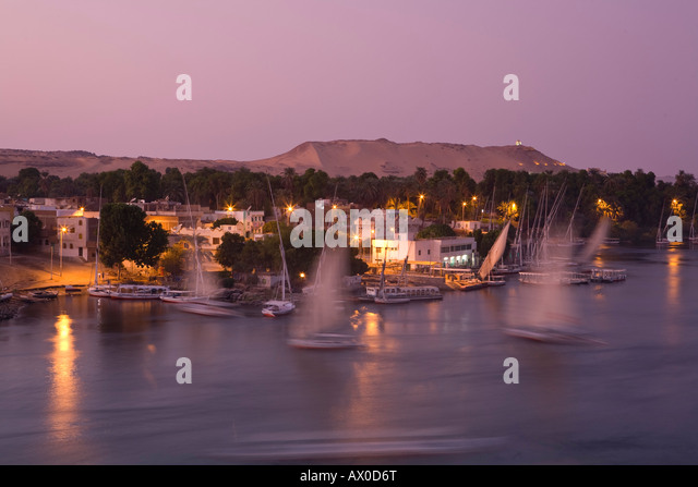 Feluccas on River Nile, Aswan, Egypt - Stock Image