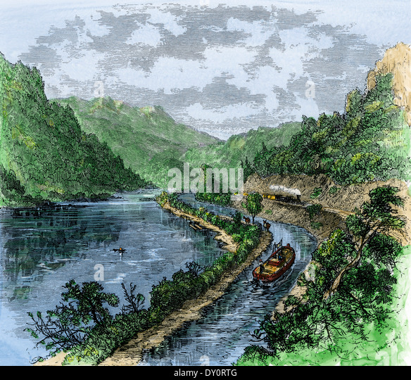 North Branch Canal along the Susquehanna River at Nanticoke, Pennsylvania, 1870s - Stock Image