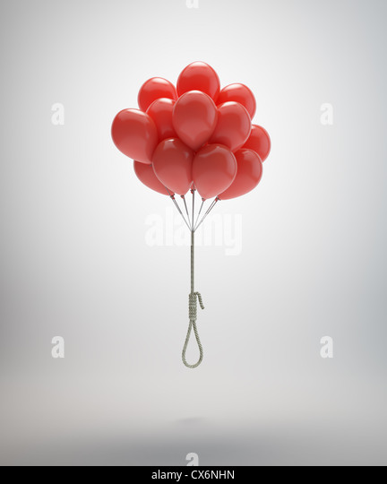 Gallows suspended by a bunch of red balloons - Stock-Bilder