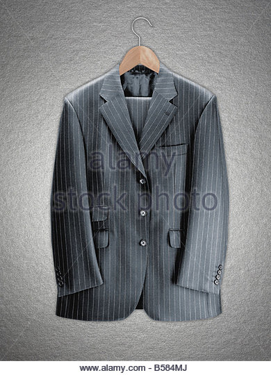 Business suit on coat hanger - Stock-Bilder