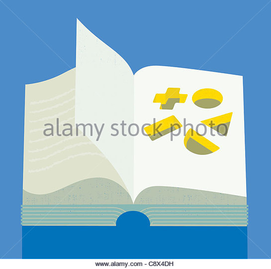 Geometric shapes cut out of book - Stock Image