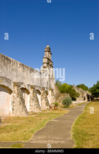 Mission San Juan San Antonio missions national historical park us national park service Texas TX popular tourist - Stock Image