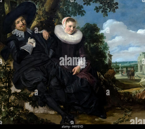 Portrait of a Couple, probably Isaac Abrahamsz Massa and Beatrix van der Laen, by Frans Hals, circa 1622, oil on - Stock Image