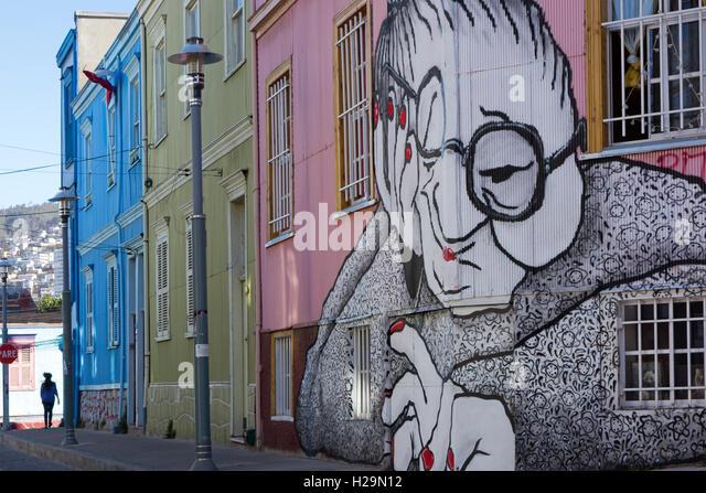 Graffiti. Valparaiso. Chile - Stock Image