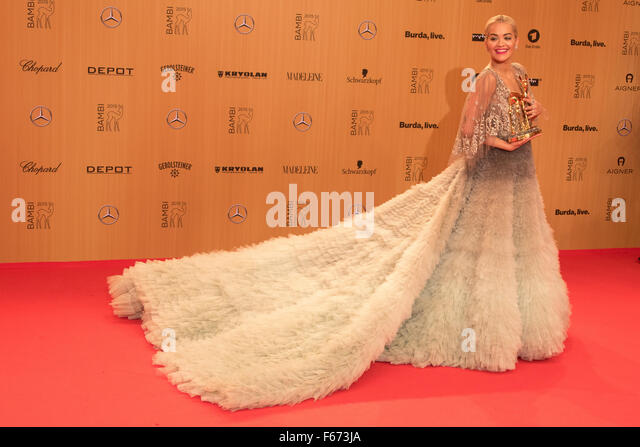 Rita Ora poses at the winners board during the Bambi Awards 2015 at Stage Theatre in Berlin, Germany, on 12 November - Stock Image