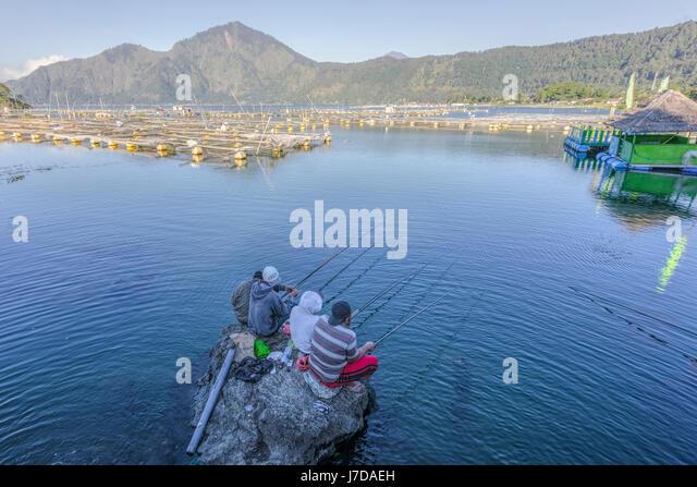 fishing men in Danau Batur, Bali, Indonesia, Asia - Stock-Bilder