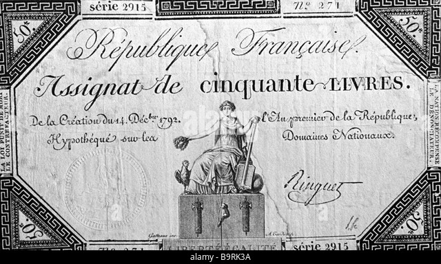 1792 banknotes of the French bourgeois revolution times - Stock Image