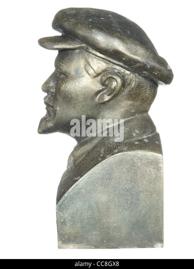 Old bronze bust of Lenin isolated on white background. - Stock-Bilder