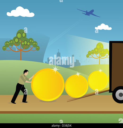 Man loading coins into a truck - Stock Image