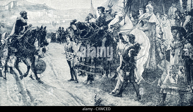 Boadil , who ruled Granada from 1482 to 1492,  was defeated by Ferdinand V and Isabella, the Catholic monarchs. - Stock Image