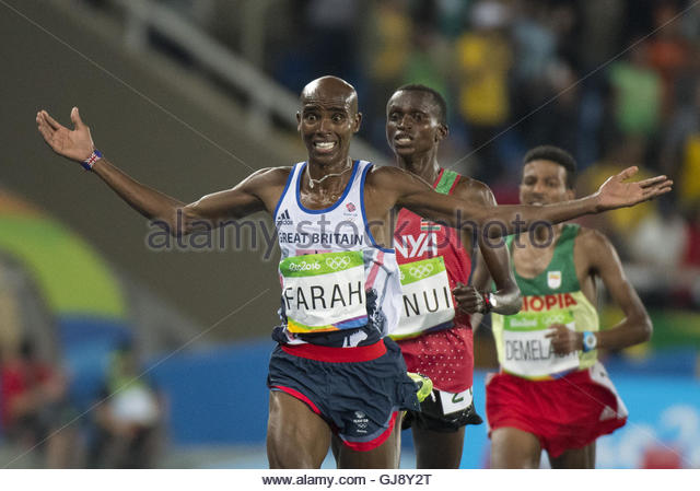 Rio de Janeiro, RJ, Brazil. 13th Aug, 2016. Mo Farah- Great Britain, in the men's 10,000 metre final during - Stock-Bilder