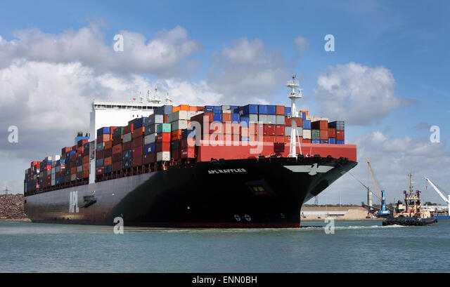 Container ship APL Raffles pictured in Southampton Docks Container Port - Stock Image