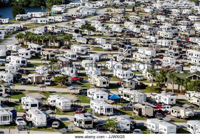 South Carolina SC Myrtle Beach Myrtle Beach RV Travel Park recreational vehicles caravan park campground aerial - Stock Image