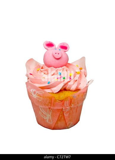 Pink cupcake isolated on a white background cupcake, pink, confectionery, sweet, icing, food, delicacy, colour image, - Stock Image