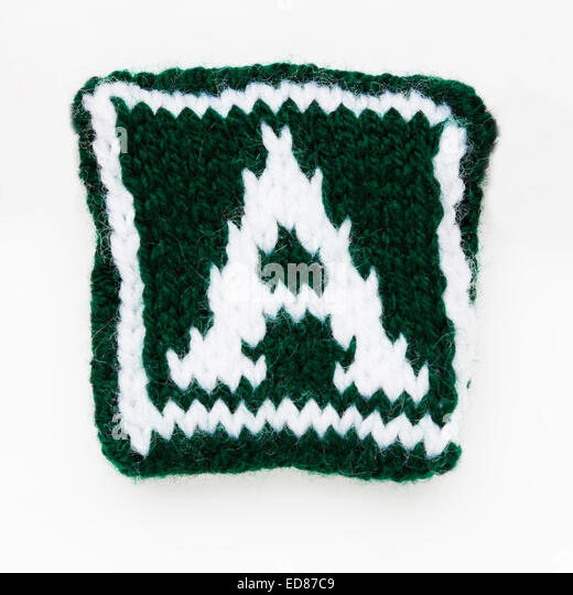 Knitted letter A  woollen lettering. - Stock Image