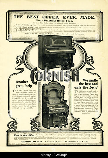 This ad for Cornish upright pianos appeared in McCall's Magazine March 1904. According to Antique Piano Shop, The - Stock Image