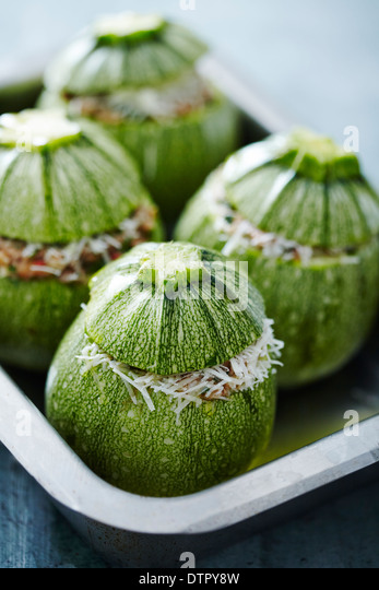 round courgettes, fresh from the garden - Stock Image
