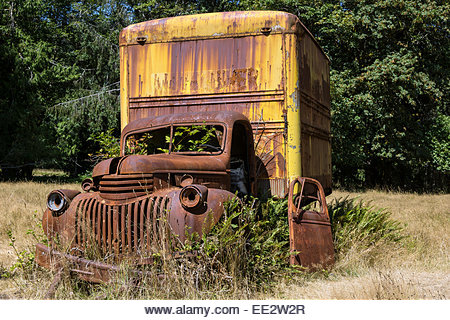 Rust - old rusted van in Olympic National Park Washington State USA - Stock Image