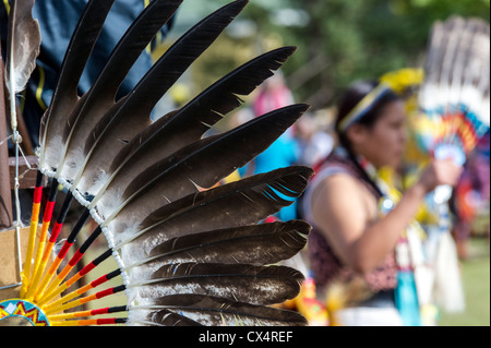 Headdress at the Treaty 7 First Nations Powwow, held at Heritage Park Calgary Alberta Canada - Stock Image