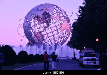 Steel globe from the 1964 World's Fair Corona Park, Flushing Meadows Queens WB enhanced also Earth Day concept - Stock Image