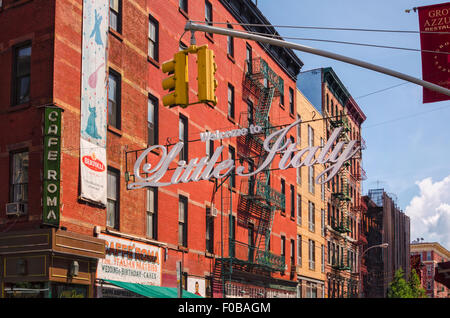 Downtown Manhattan Little Italy with Welcome to Little Italy sign New York City USA summer summertime NYC Mulberry - Stock Image