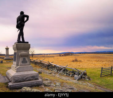 Monument Civil War Veterans of the 111th New York Infantry, Gettysburg National Military Park Gettysburg Pennsylvania - Stock Image