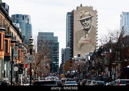 A portrait of Leonard Cohen painted onto the side of a building in Montreal, Quebec, Canada - Stock Image