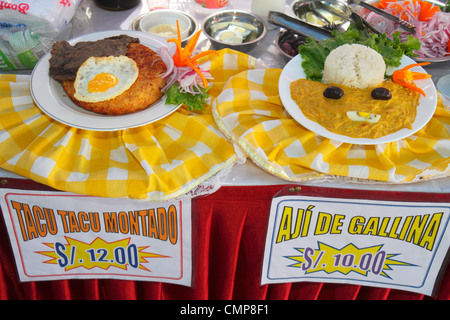 Lima Peru Barranco District Calle Colon neighborhood community fund-raiser food festival dining socializing typical Stock Photo