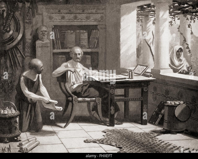 Xenophon dictating his history whilst in exile at Scillus, modern-day Skillounta, Elis, Greece, 4th century BC. - Stock Image