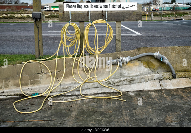 Coiled hoses. - Stock Image