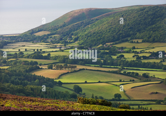 Rolling countryside and coast in the Vale of Porlock, Exmoor, Somerset, England. Summer (August) 2011. - Stock Image