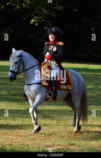 Napoleon Bonaparte riding his beautiful white horse Marengo in Borodino, Russia - Stock Image