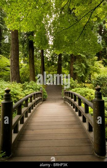 Bridge in Japanese Garden Portland Oregon - Stock Image