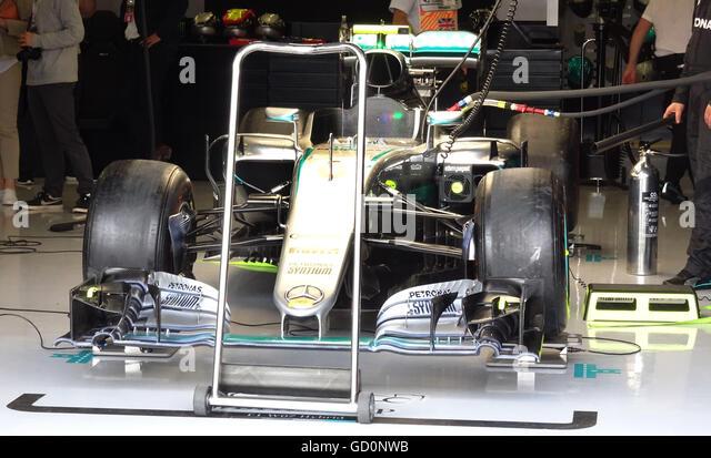 Silverstone, UK. 10th July, 2016. British F1 Grand Prix at Silverstone UK Pit Lane garages Credit:  Leo Mason/Alamy - Stock Image