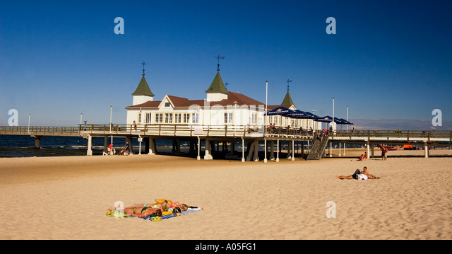 Usedom Ahlbeck beach art nouveau wooden pier - Stock Image