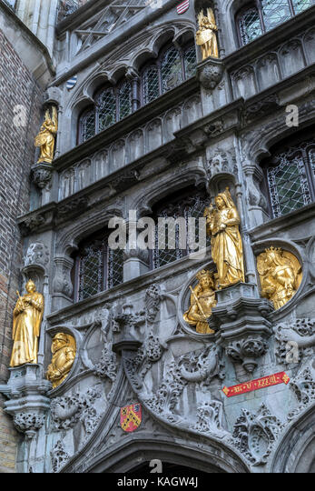 Exterior of the 12th century Basilica of the Holy Blood - a Roman Catholic basilica in Burg square in the city of - Stock Image