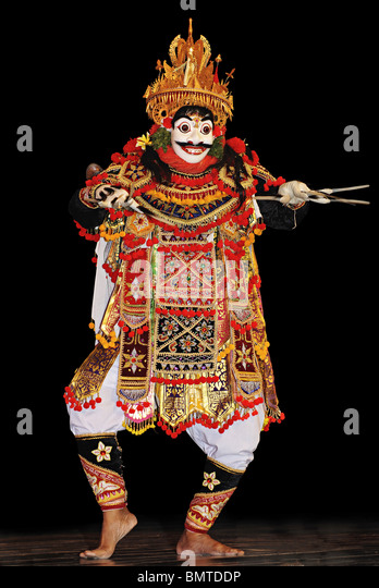Indonesia-Bali, Jauk dancer of Masleers performing Mask Drama. - Stock Image